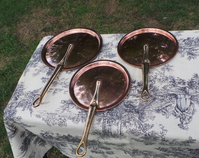 Antique French Copper Three Fitted Lids to fit 17cm 18cm  and 21cm Pans Fitted Splash Lids Copper Rivets Cast Iron Handles Stick Lids