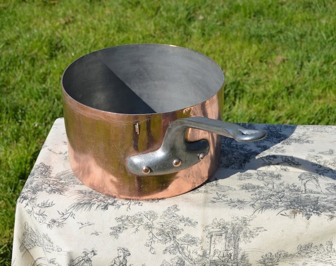 """Copper Pan by Paul LEGRY 2.5mm 28cm 11"""" Pan Marked LEGRY Antique Copper Saucepan Artisan Maker Hotel Ware Sauce Pot"""