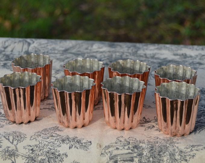 """8 Eight Caneles NKC Medium 4.5 cm 1 3/4"""" Canelés Bordeaux Bordelais Cake Moulds Molds Normandy Kitchen Copper Canelés Canelles Moulds Molds"""