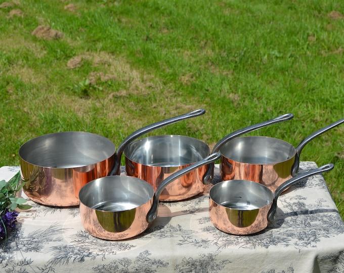 Vintage Copper Pans E France Fabrication Francaise Set of Five French Copper 1mm Graduated Pans Cast Iron Handles Quality Normandy Kitchen