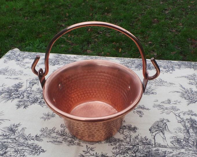 Jam Cauldron Jam Pan French Vintage Copper Apple Butter Jelly Preserves Cauldron Pot Normandy Kitchen Copper Chaudron Copper Covered Handle