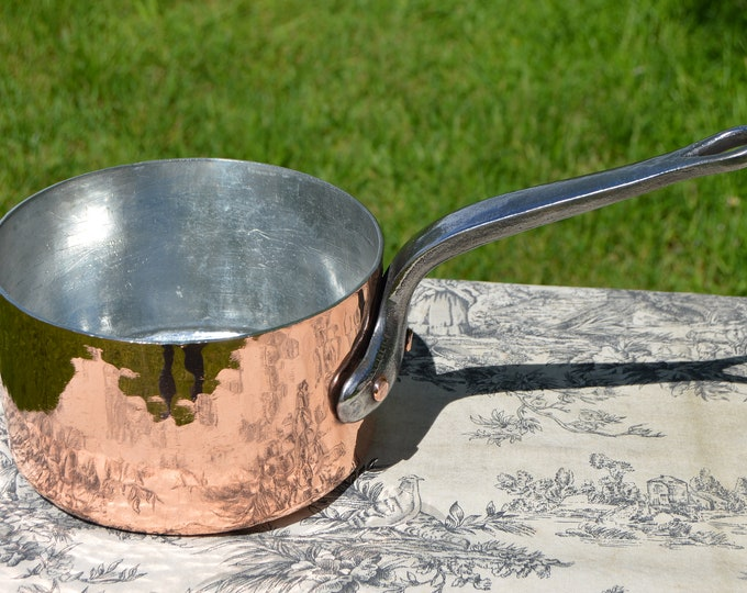 """Copper Pan 18cm 7"""" Vintage French Professional Pot Saucepan New Atelier du Cuivre Tin 2.6mm Cast Iron Handle Edge Dent Hotel Quality Pan"""