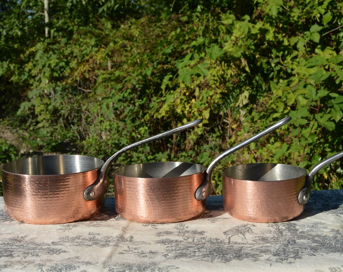 Three Copper Pans 3mm-3.1mm French Vintage Nickel Lined 14cm 16cm and 18cm Professional Durable Ex Restaurant Pans Great Condition