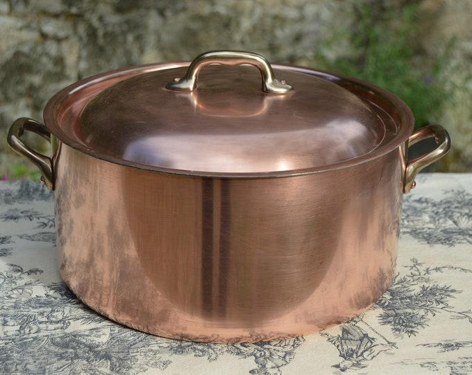 "Copper Pot 1.8mm Big Domed Faitout Marmite Rondeau Antique Refurbished Big Copper Pot Bronze Handles Well Used 26cm 10 1/4"" Lovely Bit Pot"