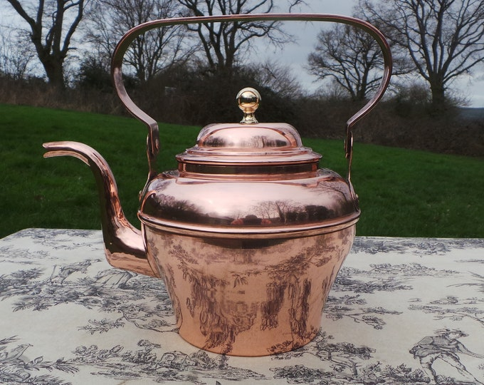 Copper Kettle French Stamped LL Veritable Villedieu Hand Made Beautiful Bouloire Vintage Copper Mounts Tinned Interior Fully Water Tight