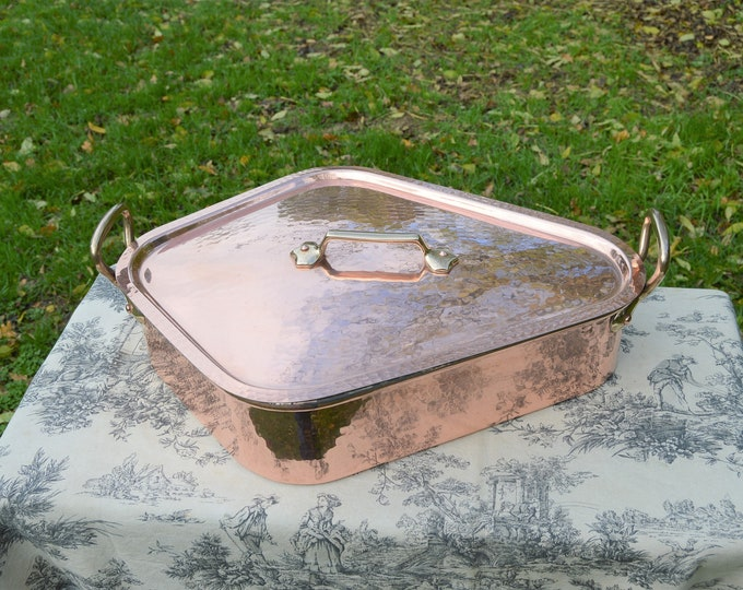 Turbotiere Solid Copper Fish Kettle Mauviel Villedieu Massive Vintage French Copper Bronze Fish Poacher Insert Tray Saumoniere Poissoniere
