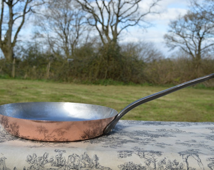 1.5mm Copper Frying Pan Copper Saute Pan Vintage French Copper Kitchen Staple Fabulous Fabrication Francaise Skillet Copper Pan Steel Lining