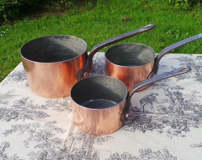Ancient Copper Pans Set Three Paris Pans Graduated Batterie De Cuisine Pans Very Old Used Parisien Pans 13cm, 15cm and 19cm