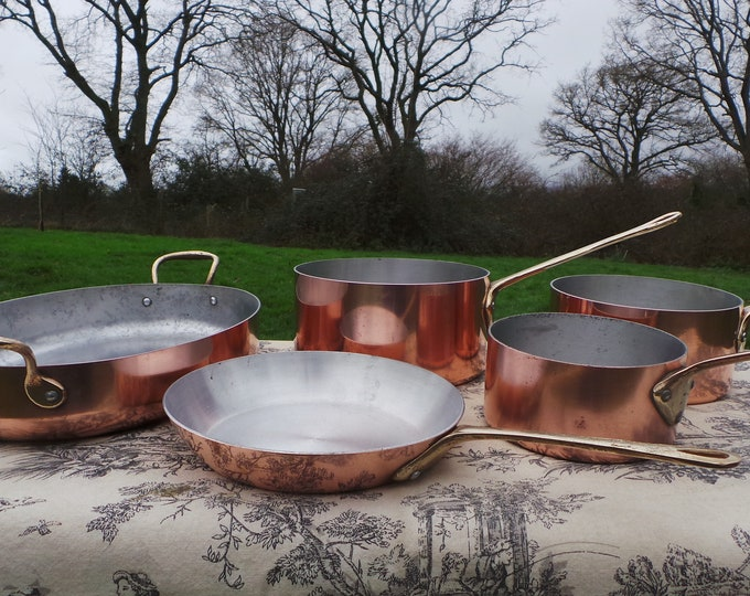 Copper Clad Cooks Set 3 Pans 1 Casserole 2 Fry 1 Gratin Pans Quality Copper and Aluminium Pans Everyday Complete Set Normandy Kitchen