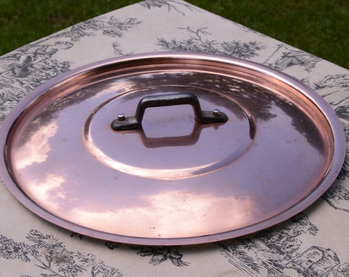 Antique French Copper Lid Fits 22 cm 8 5/8 inch 431g 15.2ozs Fitted Lid Saucepan Lid Cast Iron Handle Quality Normandy Kitchen Stamped G