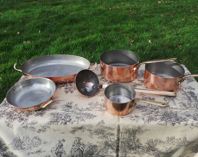 Copper Pans Cooks Matched Set of Three Pans, Two Gratins and  Ladle Good Copper Ideal Paris Kitchen Starter Set