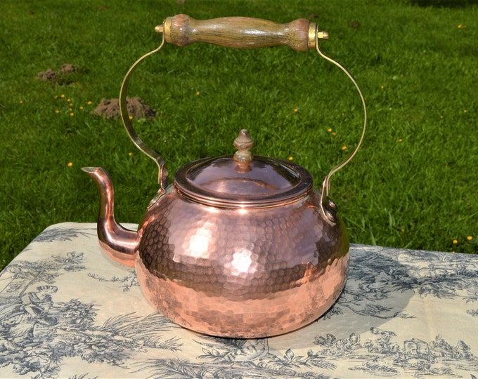 Copper Kettle French Made Bouloire Vintage Copper Pot Wooden Handle Brass Mounts Tinned Interior Water Tight Hammered Cuivre