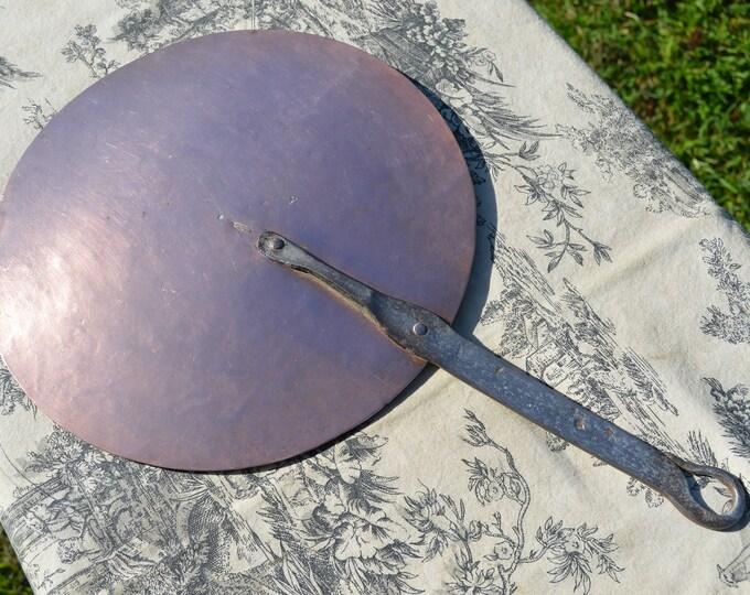 Antique French Copper Lid 25cm 9 7/8 inch Diameter 558grms 1lb 4oz Splash Lid with Copper Rivets Cast Iron Handle Good Antique Lid