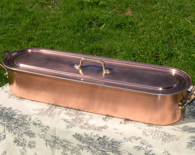 Vintage French Copper Clad Cast Bronze/Brass Fish Kettle Poacher Insert Tray Beautiful Bronze and Copper Pan From Normandy Kitchen