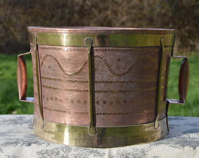 Vintage Copper Ferrat Champagne Bucket French Water Carrier Normandy 'Ferrat' France Copper Tub Copper Wine Cooler Hand Made Rivets Banding