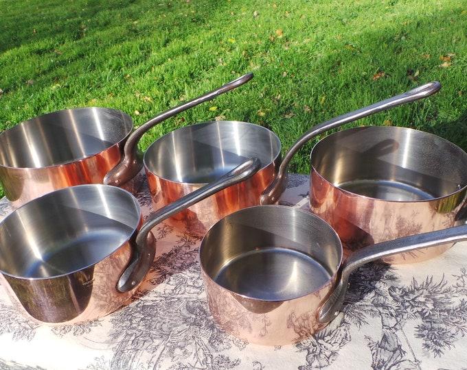Copper Pans Tournus Vintage Collected Set French 1mm-1.9mm Set FIVE Copper Pans Quality Copper Pots and Pans Mixed Linings