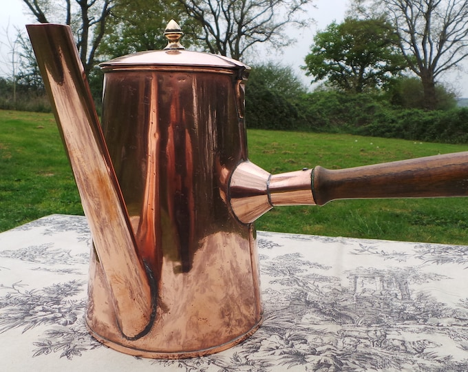 Chocolate Pot Antique Copper Pot Oak Handle Solid Hand Cut Copper Fittings Tin Lined Hammered Surface Copper Skirt Seamed Joints
