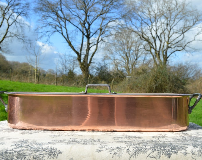 Vintage French Copper Clad and Cast Iron Handles Fish Kettle or Poacher Insert Tray and Three Handles - Cast Iron and Copper Clad Aluminium