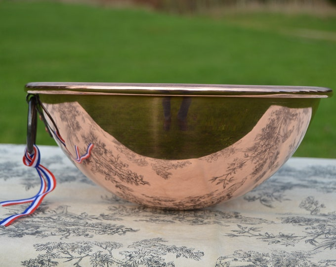 "New NKC Copper Mixing Bowl Cul de Poule Normandy Kitchen Copper Bol 28cm 11"" New Traditionally Made Copper 28cm 1.2mm Iron Swing Ring Handle"