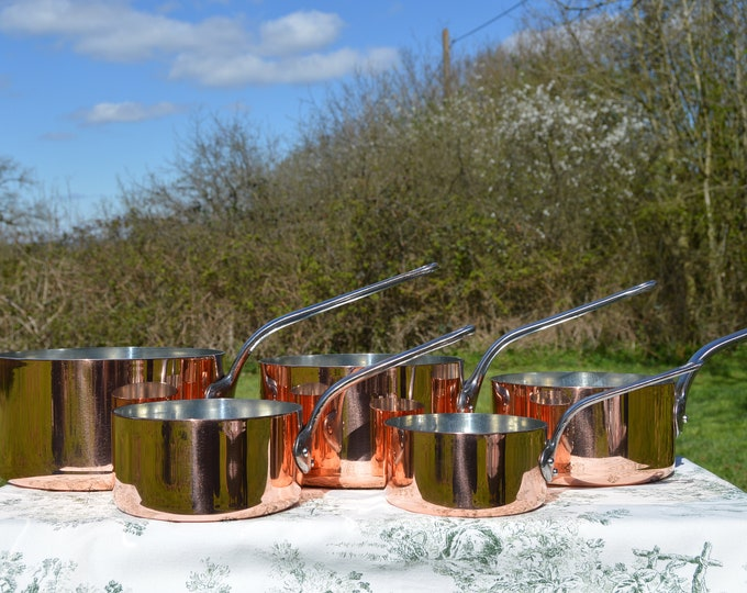 Copper Pans New Atelier du Cuivre Tin Five Vintage French 2.2mm Copper Cast Iron Handles 6.8Kilo 15lbs Quality Saucepans Normandy Kitchen