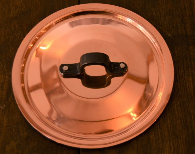 "New NKC 12cm Normandy Kitchen Copper Pan Lid Made in France Fitted Copper Pan Lid for 4 3/4"" Pan Quality Iron Handle Tin Lined New Copper"