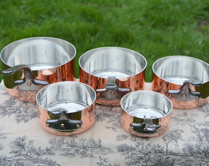 Vintage Five Copper Pans New Tin French 1.9-2mm Copper Iron Handles 6.6Kilo 14lbs 11ozs Normandy Kitchen Quality Copper New Villedieu Tin