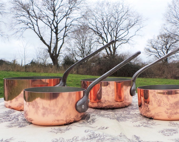 French Copper Pans set of Four Tupperware Saucier Set Made In France 1mm Graduated Pans Cast Iron Handles Tin Lined 'Little Paris Kitchen'
