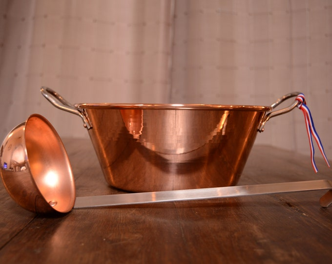 "New NKC 28cm Copper Jam Pan from Normandy Kitchen Copper Jam Jelly Pan 11"" Rolled Top Stainless Steel Handles Ladle New Normandy Kitchen"
