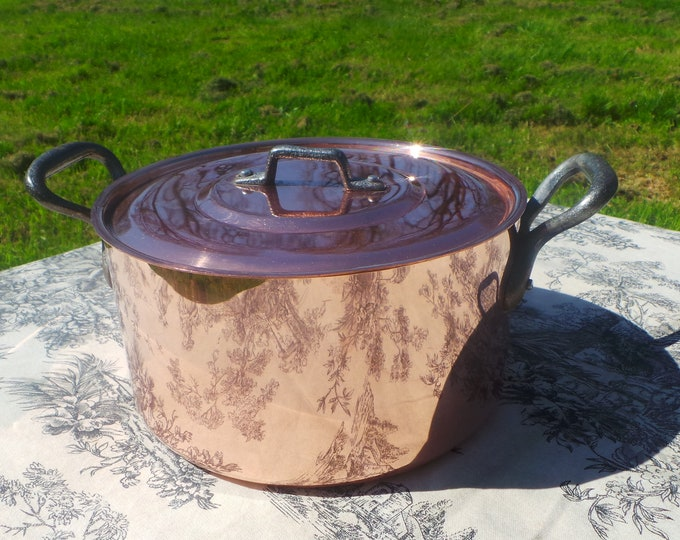 Tupperware Copper Casserole Faitout Oval Pot French Copper Casserole Lid 1.7mm 20cm 8 Inch Good Condition Vintage Copper Pan Great Tin