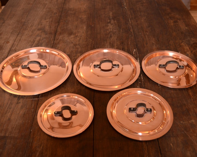 New NKC Normandy Kitchen Copper Set Pan Lids Made in France Five Copper Pan Lids for 12cm-20cm Quality Set Iron Handles Tin Lined New Copper