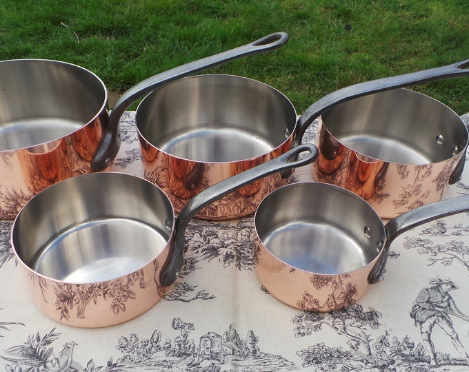 Copper Stainless Steel Five Pans Collected Set Different Makers 5 1-1.9mm Vintage French Copper Graduated Pans Cast Iron Handles Fabulous