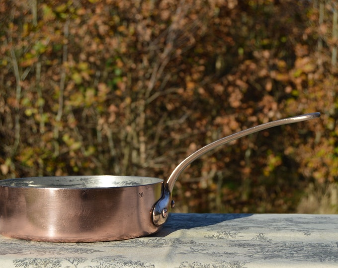 "Copper Saute Pan Solid French Antique Copper Pan 20cm 8"" Cast Bronze Handles Quality Copper Good Tin Lining 1.4mm Copper Minor Dents 5936"