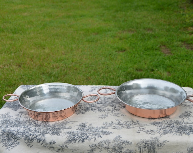 Two Copper Gratin Pans Copper Handles Roasting Pans French Copper Pans Vintage Copper Dish Round 23cm and 25cm 9 and 10 Inch Tin Lined