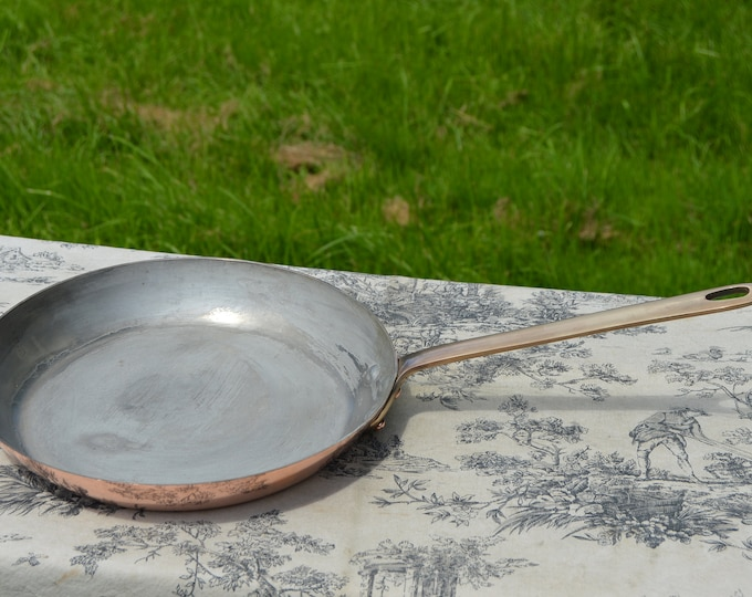 """Frying Pan Large French Copper Tin Lined 1.4mm Skillet Saute Frying Pan Bronze Handle 26cm 10 1/4"""" Good Size Fry Pan France Well Used"""