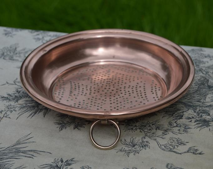 Jam Sieve Copper Vintage French 22cm 8+ Inch Copper Pan Jam Fruit Colander Sieve Bronze Ring Handle Good Solid Copper Kitchen Utensil