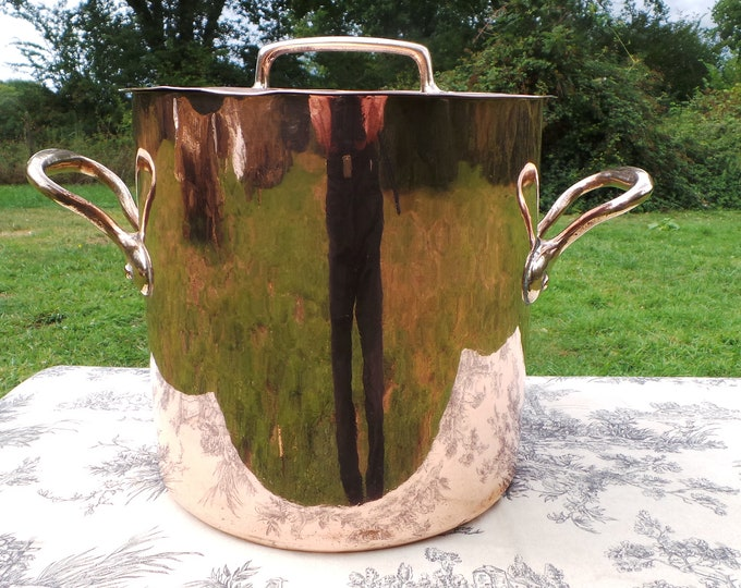 French Antique Copper Stock Pot Marmite Faitout Big Pan Very Old Very Loved All Solid Copper Quality Antique Piece Seasoned Dark Tin