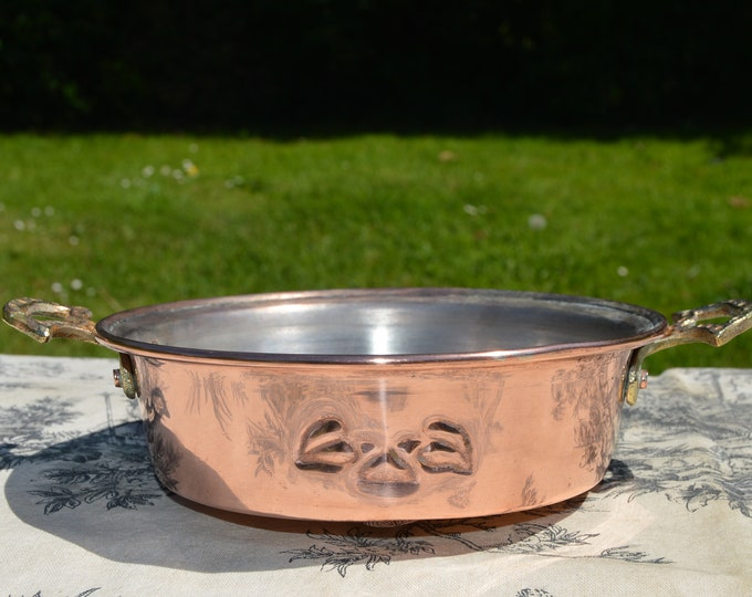 "Copper Pan French Copper Au Gratin Snail Pan Egg Pan Apple Vintage Copper Dish Round 14.5cm 5 3/4"" Copper Pan Roasting Pan Silver Lined Pan"
