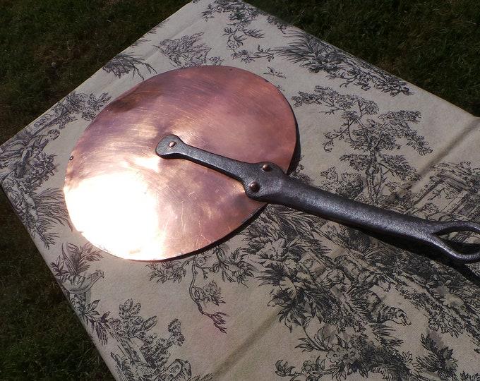 Antique French Copper Lid 24.5cm 9 3/8 inch Diameter 0.712 Kilo 1lb 9ozs Splash Lid with Copper Rivets Cast Iron Handle Good Old Lid 4807