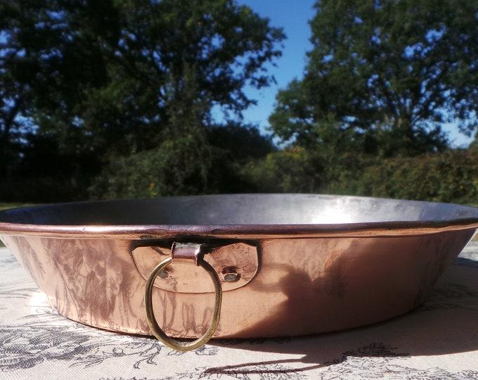 "Copper Gratin Pan French Vintage Copper Roasting Dish Round Oven 25cm 9 3/4"" Bronze Ring Handle Good Sized Gratin Roasting Seasoned Tin 7549"