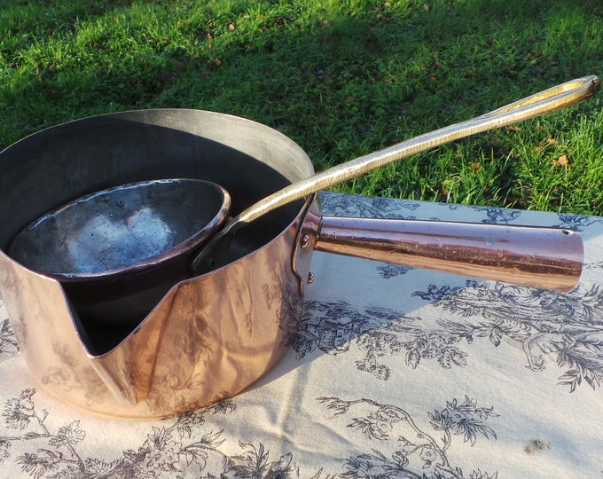 Antique Copper Sugar Pan Tinned with Big Copper Ladle Hollow Handle Traditional Spout Chef Pâtissier For Choux