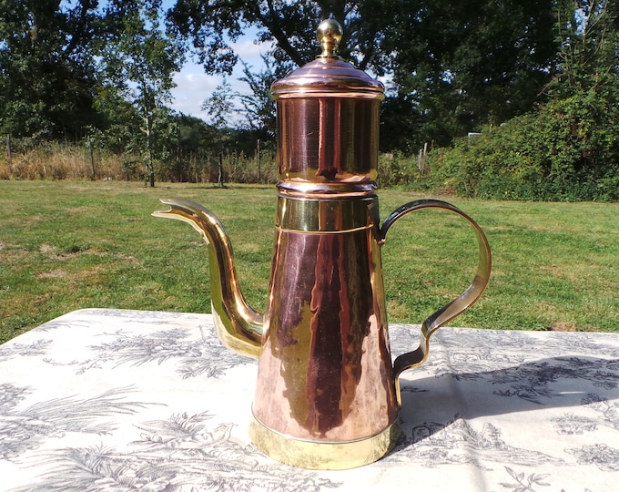 Coffee Percolator Belgian Vintage Copper Cafetiere Pot Solid Copper and Brass Fittings Tin Lined Well Used Small Dents Coffee Pot