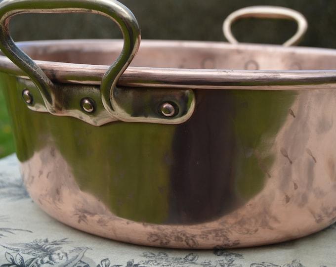 Copper Jam Pan Midi Sized French Copper Pot Vintage Copper 33cm French Jam Confiture Jelly Pan Cast Bronze Handles Useful Size Dents Marks