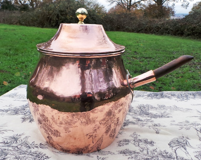 Copper Pot Bellied Pan Stove Top Ancient Pan Dark Tin French Copper Museum Quality Used Antique Solid Copper Worn Wooden Handle