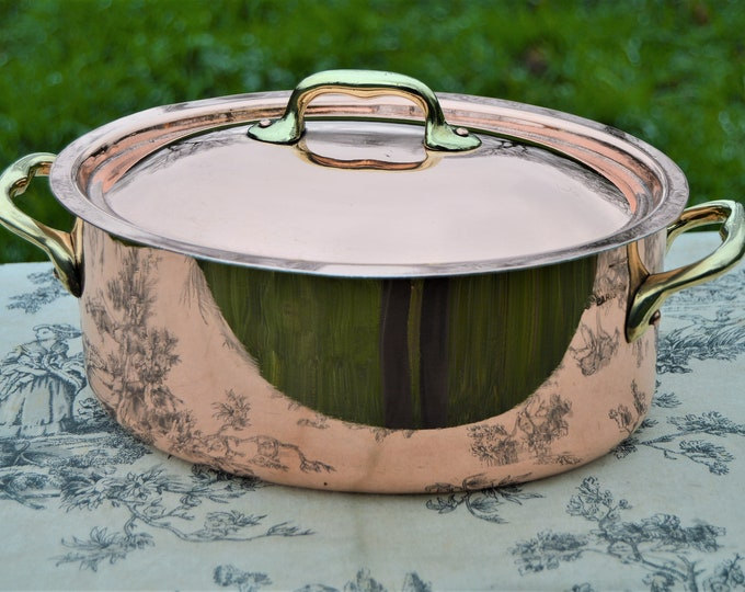 """Vintage Dehillerin New Hand Wiped Tin Solid French Copper Casserole Cast Bronze Handles New Tin Lining 24 cm 9 1/2"""" Signature Casserole"""