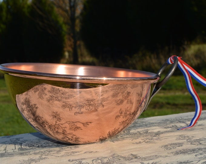 "New NKC Copper Mixing Bowl Cul de Poule Normandy Kitchen Copper Bol 20cm 8"" New Traditionally Made Copper 20cm 1.2mm Fixed Iron Ring Handle"
