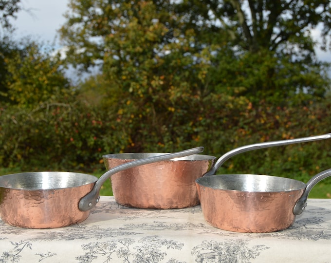 Three Copper Pans 2.0-2.1m Sauteuse Évasée French Vintage Superior Windsor Pots Chef's Set 2 X 16.5  1 X 20.5cm Professional Pans New Tin
