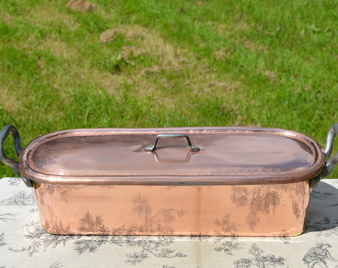 Fish Kettle Antique French Copper Pan Pot Iron Handles Fish Poacher Insert Tray Poissonniere Solid Copper Castellated Joints Hand Made Lid
