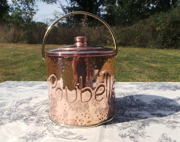 Poubelle Copper Mini Table Bin Holder Marked Poubelle Utensil Holder Keepsake Canister Container Normandy Kitchen Copper Vintage Lidded Tin