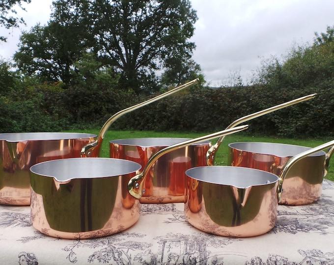 Everyday Vintage Pans Heavy French Copper Clad Set FIVE Graduated Saucier Spouts Cast Bronze Handles Good Condition 12-20cm