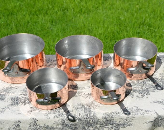 Copper Pans Havard of Villedieu Tin Lined Copper Five 2 -2.3mm Vintage French Copper Professional Villedieu Graduated Pots Handle Good Set